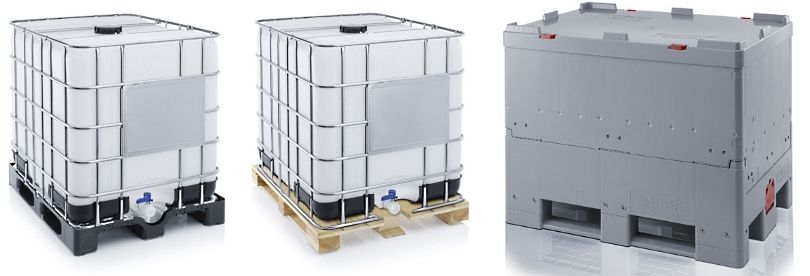 Ibc containers met plastic pallet