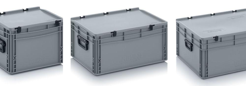 Plastic koffers met koffergrepen op 2 korte zijden