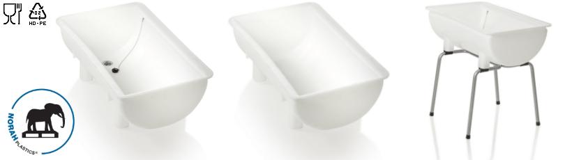 Plastic mengbakken en plastic spoelbakken