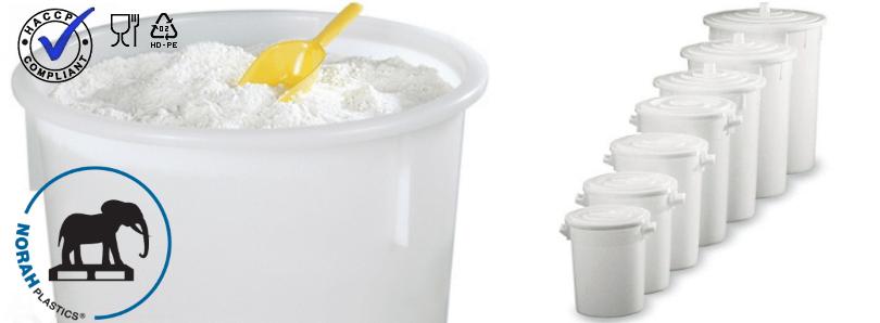 Plastic tonnen voor productie-, opslag van o.a. levensmiddelen