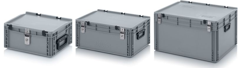 Kunststof koffers met 2 koffergrepen, korte kant en slot