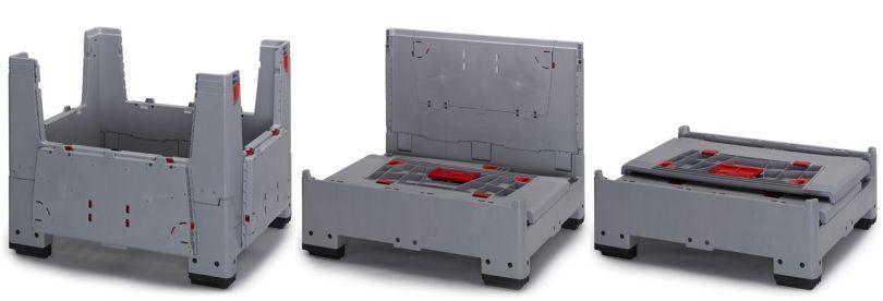 Vouwbare palletboxen met vier laadkleppen
